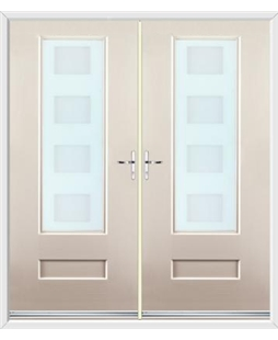 Vogue French Rockdoor in Cream with Cube Glazing