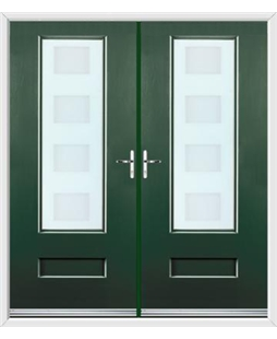 Vogue French Rockdoor in Emerald Green with Cube Glazing