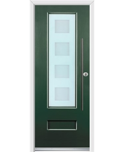 Ultimate Vogue Rockdoor in Emerald Green with Cube Glazing and Bar Handle