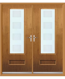 Vogue French Rockdoor in Irish Oak with Cube Glazing
