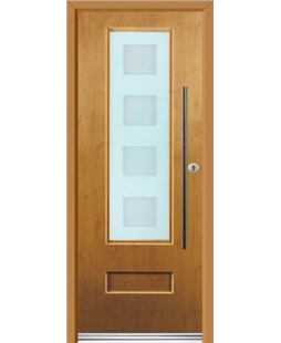 Ultimate Vogue Rockdoor in Irish Oak with Cube Glazing and Bar Handle