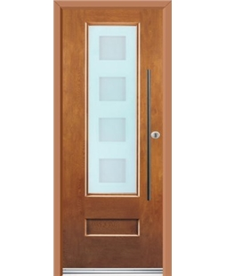 Ultimate Vogue Rockdoor in Light Oak with Cube Glazing and Bar Handle