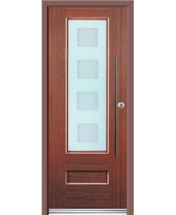 Ultimate Vogue Rockdoor in Mahogany with Cube Glazing and Bar Handle