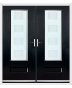 Vogue French Rockdoor in Onyx Black with Cube Glazing