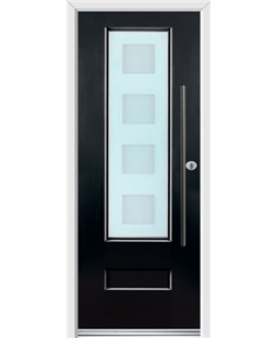 Ultimate Vogue Rockdoor in Onyx Black with Cube Glazing and Bar Handle