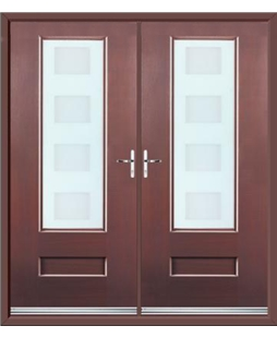 Vogue French Rockdoor in Rosewood with Cube Glazing