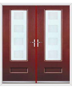 Vogue French Rockdoor in Ruby Red with Cube Glazing