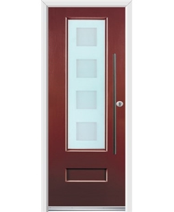 Ultimate Vogue Rockdoor in Ruby Red with Cube Glazing and Bar Handle