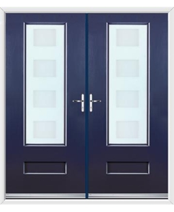 Vogue French Rockdoor in Sapphire Blue with Cube Glazing