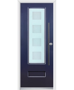 Ultimate Vogue Rockdoor in Sapphire Blue with Cube Glazing and Bar Handle