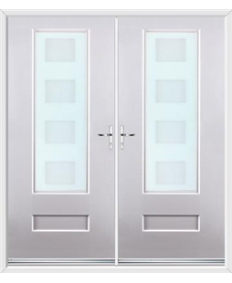 Vogue French Rockdoor in White with Cube Glazing