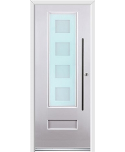 Ultimate Vogue Rockdoor in White with Cube Glazing and Bar Handle