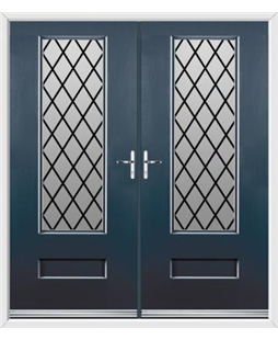 Vogue French Rockdoor in Anthracite Grey with Diamond Lead