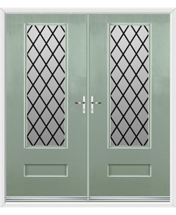 Vogue French Rockdoor in Chartwell Green with Diamond Lead