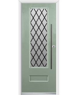 Ultimate Vogue Rockdoor in Chartwell Green with Diamond Lead and Bar Handle