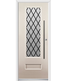 Ultimate Vogue Rockdoor in Cream with Diamond Lead and Bar Handle