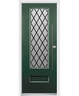 Ultimate Vogue Rockdoor in Emerald Green with Diamond Lead and Bar Handle