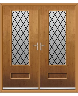 Vogue French Rockdoor in Irish Oak with Diamond Lead