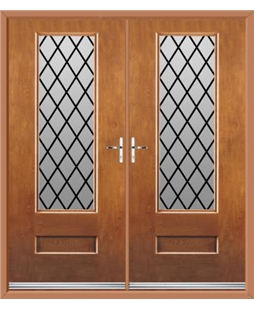 Vogue French Rockdoor in Light Oak with Diamond Lead