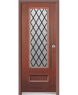 Ultimate Vogue Rockdoor in Mahogany with Diamond Lead and Bar Handle