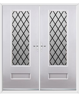 Vogue French Rockdoor in White with Diamond Lead