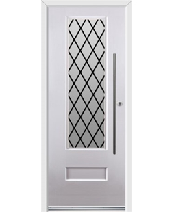 Ultimate Vogue Rockdoor in White with Diamond Lead and Bar Handle