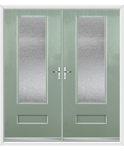 Vogue French Rockdoor in Chartwell Green with Gluechip Glazing