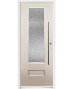 Ultimate Vogue Rockdoor in Cream with Gluechip Glazing and Bar Handle