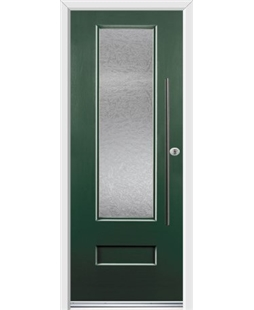 Ultimate Vogue Rockdoor in Emerald Green with Gluechip Glazing and Bar Handle