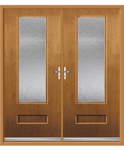 Vogue French Rockdoor in Irish Oak with Gluechip Glazing