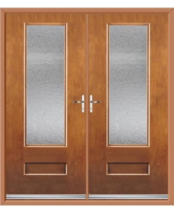 Vogue French Rockdoor in Light Oak with Gluechip Glazing