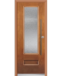 Ultimate Vogue Rockdoor in Light Oak with Gluechip Glazing and Bar Handle