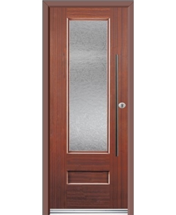 Ultimate Vogue Rockdoor in Mahogany with Gluechip Glazing and Bar Handle