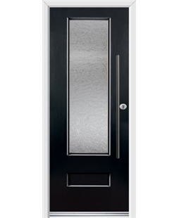 Ultimate Vogue Rockdoor in Onyx Black with Gluechip Glazing and Bar Handle