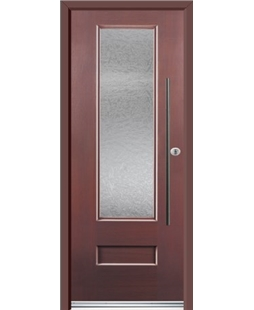 Ultimate Vogue Rockdoor in Rosewood with Gluechip Glazing and Bar Handle