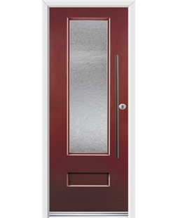Ultimate Vogue Rockdoor in Ruby Red with Gluechip Glazing and Bar Handle
