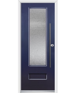 Ultimate Vogue Rockdoor in Sapphire Blue with Gluechip Glazing and Bar Handle