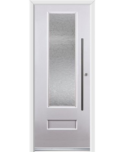 Ultimate Vogue Rockdoor in White with Gluechip Glazing and Bar Handle
