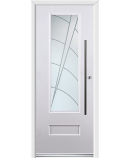Ultimate Vogue Rockdoor in Blue White with Ocean Glazing and Bar Handle