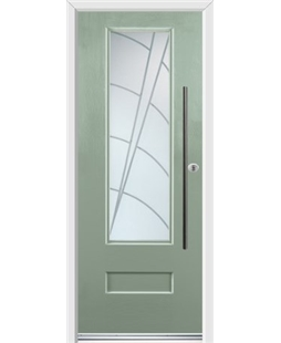 Ultimate Vogue Rockdoor in Chartwell Green with Ocean Glazing and Bar Handle