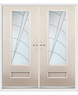 Vogue French Rockdoor in Cream with Ocean Glazing