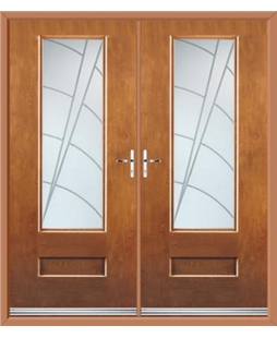 Vogue French Rockdoor in Light Oak with Ocean Glazing