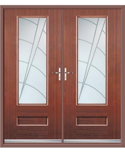 Vogue French Rockdoor in Mahogany with Ocean Glazing