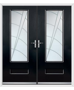 Vogue French Rockdoor in Onyx Black with Ocean Glazing