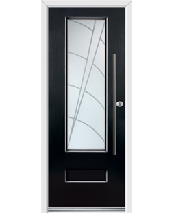 Ultimate Vogue Rockdoor in Onyx Black with Ocean Glazing and Bar Handle