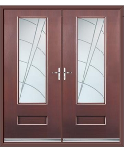 Vogue French Rockdoor in Rosewood with Ocean Glazing
