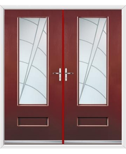 Vogue French Rockdoor in Ruby Red with Ocean Glazing