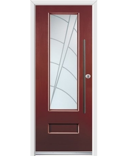 Ultimate Vogue Rockdoor in Ruby Red with Ocean Glazing and Bar Handle