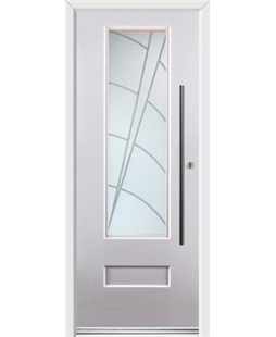 Ultimate Vogue Rockdoor in White with Ocean Glazing and Bar Handle