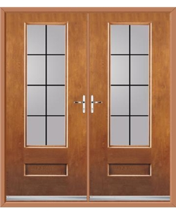 Vogue French Rockdoor in Light Oak with Square Lead